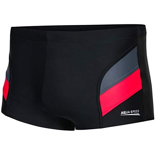 Aqua Speed Badehosen eng für Herren + gratis eBook   Schwimmhose Männer   Trainings Swimwear Men   Kastenbadehose   Aron, Gr. 4XL, Schwarz Grau Rot