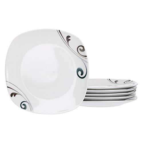 Van Well Lot de 6 assiettes à gâteau Elisa I petite assiette I plat de service I petit déjeuner, accompagnements, dessert I brunch & buffet I Vaisselle en porcelaine I Motif floral