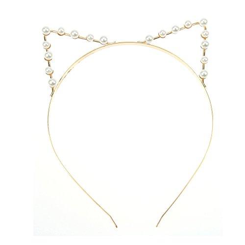Lumanuby Katzenohren Haarreif für Damen Schön Ohren Stirnband Kostüm Haarschmuck für Party Bar Abschlussball Hochzeit, Golden Farbe