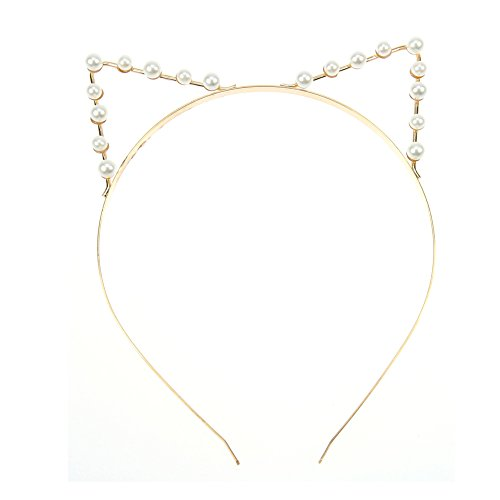 Qingsun ragazza gatto orecchie fascia per capelli con artificiale perla strass 2017moda (Golden)
