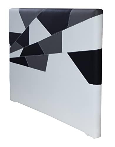 ONEK-DECCO Cabecero de Cama tapizado en Polipiel Mod. Brooklyn 1 Largo para Cama de niño, Juvenil y Matrimonio (125 cm. Alto). (150x125, Blanco-Negro-Gris)