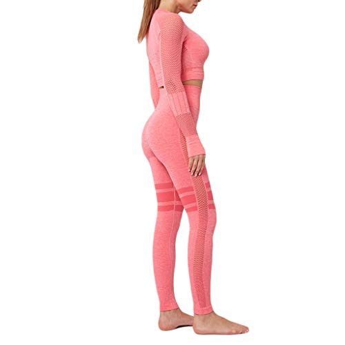 Crop Tops Leggings Anzug Damen Trainingsanzüge Sportanzug Bauchfrei T-Shirts Enges Sweathose High-Waist Jogginganzug Laufen Fitness Suit Sport Bekleidungsset, Rosa, Small