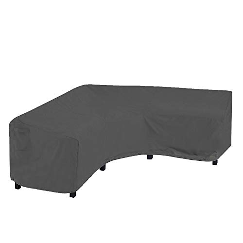 """YMBASKET Garden Furniture Corner Sofa Set Cover, V Shaped 100"""" L x 33.5"""" D x 31"""" H, Patio Furniture Sectional Couch Covers Durable Premium Outdoor Waterproof, Air Vent ,Grey"""