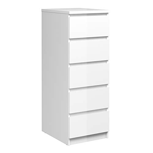 Furniture To Go | Naia Narrow Chest of 5 Drawers in White High Gloss