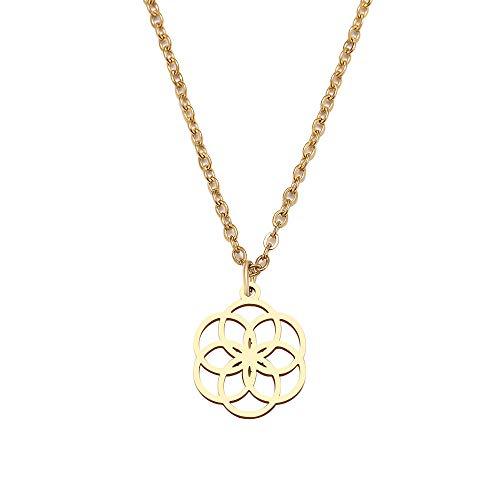 YQMR Colgante Collar para Mujer,Señoras Exquisito Colgante Collar Grabado Dorado Hueco Boho Mandala Colgante Joyería De Moda Regalo para Cumpleaños Amistad Familia