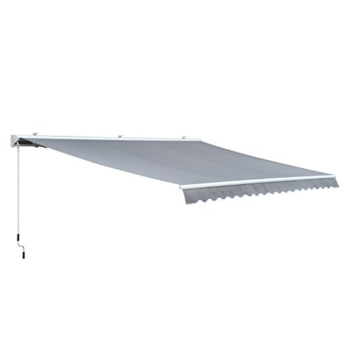 Outsunny Markise Alu-Markise Aluminium-Gelenkarm-Markise 4,5x3m Sonnenschutz Balkon Grau
