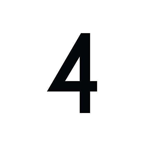 Zahlenaufkleber Nummer 4, schwarz, 10cm (100mm) hoch, Aufkleber mit Zahlen in vielen Farben + Höhen, wetterfest