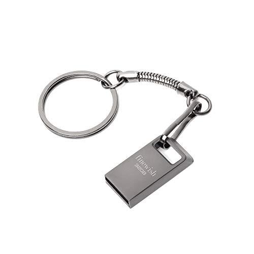Cle USB 32 GO, Mini Clé USB 32GB USB Flash Drive 32GO Portable Clef USB 32 Giga avec Keychain pour Ordinateur Portable/PC/Voiture etc (Gris)