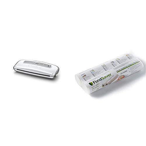 FoodSaver FFS014X Folienschweißgerät/Vakuumierer/Vakuumiergerät & FSR2802-I Vakuum-Rollen 2 Stück 28x550 cm / Folienrollen für Lebensmittel / Vakuumierer / Sous-Vide