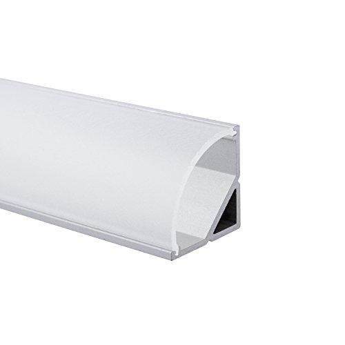 SEMI - 200 cm LED Aluminium Leisten ECKE-Rund + 200 cm diffuse halbtransparente Abdeckung für LED-Streifen von Alumino® led alu profil rund