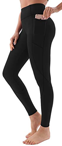 AFITNE Yoga Pants for Women High Waisted Tummy Control Athletic Leggings with Pockets Workout Gym Yoga Pants Black - S