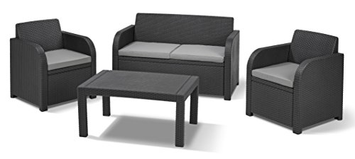 Keter Carolina Outdoor 4 Seater Rattan Lounge Table Garden Furniture Set -...
