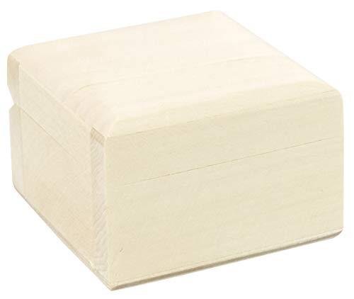 LAUBLUST Holzschatulle mit Deckel - ca. 6x6x4cm, Linde Natur - Schmuckkästchen | Geschenkverpackung | Deko & Bastelbox