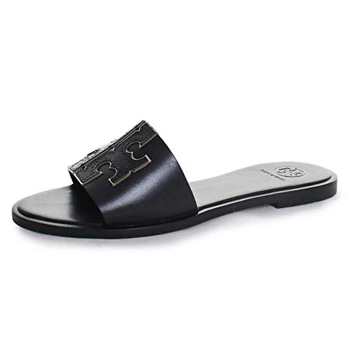 Tory Burch Women's INES Slide Leather Cushioned Sandals Black Size 10.5