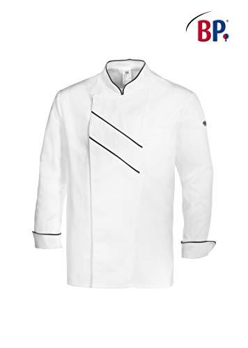 BP 1538-400-2132-48 Kochjacke, Lange Ärmel mit Manschetten, 215,00 g/m² Stoffmischung, weiß/schwarz ,48