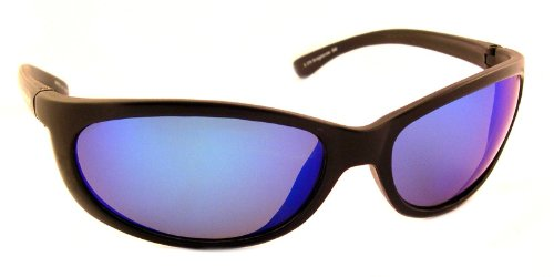 Sea Striker Bridgetender Polarized Sunglasses, Black Frame, Blue Mirror Lens