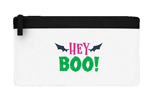 Hey Boo Bats Halloween Statement Flat-Style Pencil case - Black