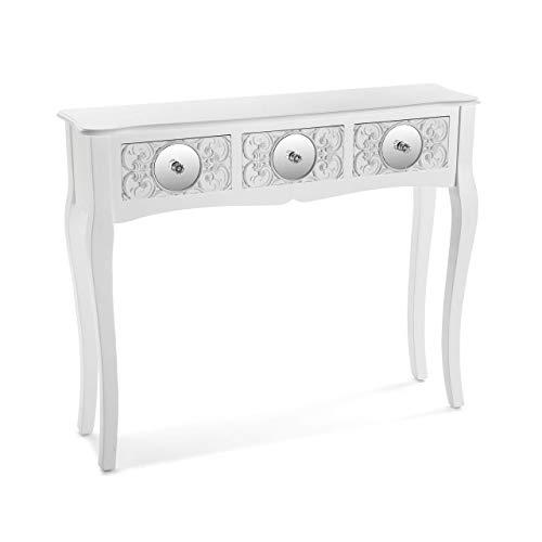 Versa - Indra Schmale Flurmöbel mit Spiegeln für Eingang oder Korridor, Konsolentisch aus Holz, Maße (H x L x B) 80 x 25 x 95 cm, Weiße Farbe,