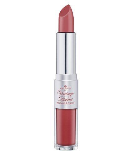 Essence Vintage District Duo Lipstick & Gloss Nr. 02 Antique Pink Lipstick 4g und Lipgloss 3ml Farbe: Altrosa/Rot Lippenstift und Lipgloss in einem Stift ideal für unterwegs.