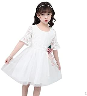 LuckyYumi 子供ドレス 女の子 ピアノ 発表会 パーディー 演奏会 フォーマル 入園式 結婚式 ワンピース (130cm, ホワイト)