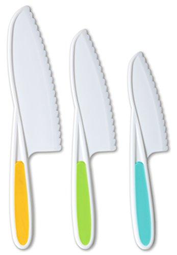 Tovla Jr. Cuchillos para niños de 3 piezas de nailon para hornear: cuchillos de cocina para niños en 3 tamaños y colores/agarre firme, bordes serrados, cuchillos para niños sin BPA (los colores varían para cada tamaño de cuchillo)
