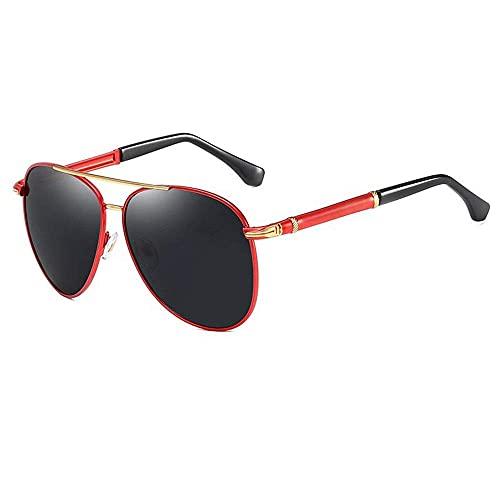 wangpu Gafas de sol de estilo retro para hombre, espejo de sapo de metal, espejo de conducción, polarizado, antideslumbrante, para pesca, color rojo, tamaño: talla única