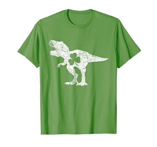 Dinosaurio T Rex St Patricks Día Shamrock Adultos Hombres Niños Niños Camiseta