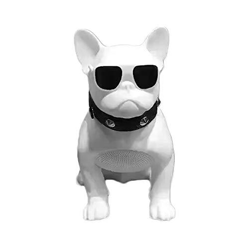 HYRL Bulldog-Lautsprecher Tragbare Bluetooth-Lautsprecher Drahtlose Lautsprecherunterstützung TF-Karten-Stereoanlage - Für TV Computer Phone Desktop,Weiß