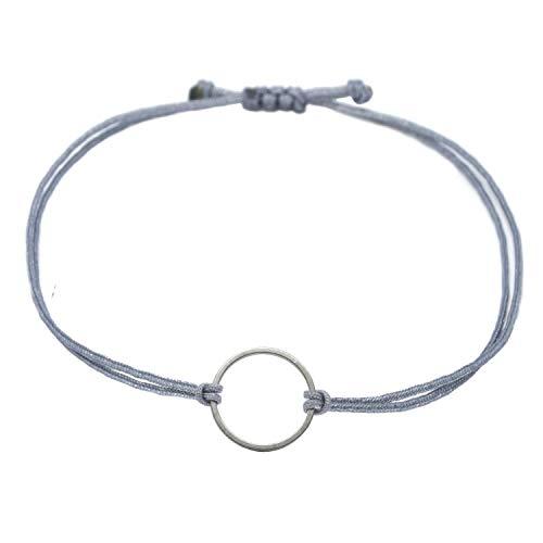 Pulsera de plata con circulo,gris,textil de la pulsera visillo con diseñoo circular,tamaño ajustable, fabricado a mano