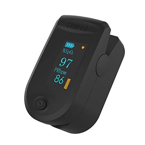 Fingerclip Pulsoximeter Herzfrequenz Blutsauerstoffsättigungsüberwachung Oximeter LED hochauflösender Vier-Wege-Monitor schwarz
