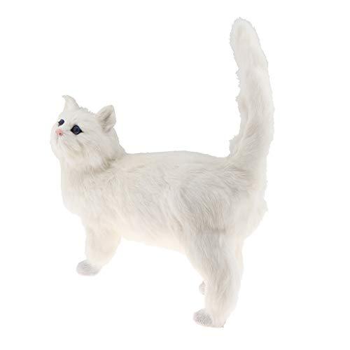 FLAMEER Plüschkatze Großes Plüschtier Katze, ideales Stofftier Geschenk Glückskatze cat niedliches Kuscheltier für Kinder, Mädchen und Baby - Weiß