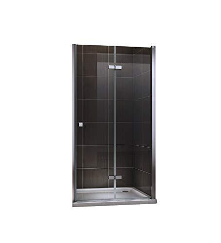 Puerta para ducha, plegable, con vidrio de seguridad transparente, tamaño: 80-120x190cm, transparente