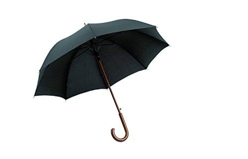 Schöner Regenschirm in schwarz mit Holzgriff und Automatiköffnung ST1027