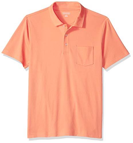 Amazon Essentials Herren-Poloshirt, schmale Passform, mit Brusttasche, aus Jersey, Coral, US M (EU M)