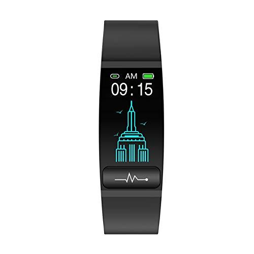 LYB Reloj Inteligente Banda Medida de Temperatura Frecuencia Cardíaca Monitor de Presión Arterial Tiempo Recordar Sedentario Hombres Mujeres Android Ios (Color: Negro)