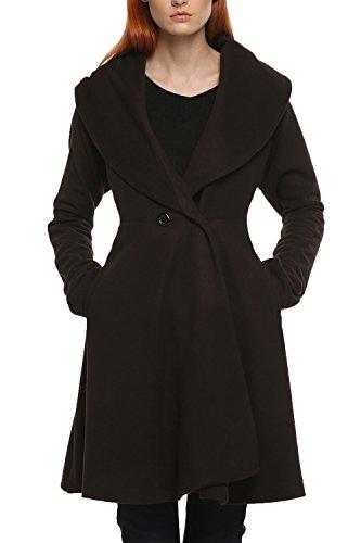 Angvns Damen langer Mantel, Wollmischung, figurbetont, Knopf, Parka, elegant, Winter Gr. 38, braun