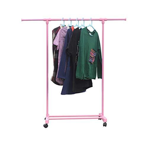 Kapstok, vloerkledinghaken, ophangsysteem met schoenenrek, telescopische wasdroger eenvoudig Folding enkele Polen kleding roze A ++ (maat: pulley) Pulley