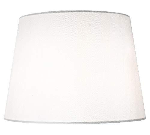 """Pantalla de lámpara de tambor grande de 14""""de diseño tradicional en elegante tela de seda sintética blanca por Happy Homewares"""