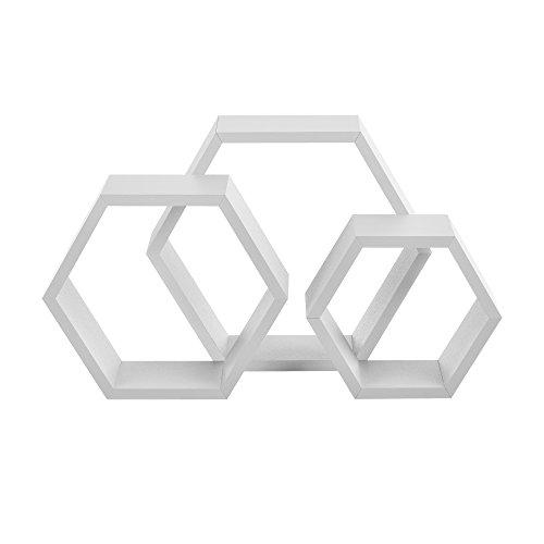 [en.casa] Stylisches Wandregal in Wabenform 3-teilig weiß matt im Retro-Design