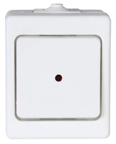 Kopp 564602001 Aufputz-Feuchtraum Kontrollschalter mit Linse und eingesetzter Glimmlampe,IP44, Standard, Arktis-weiß