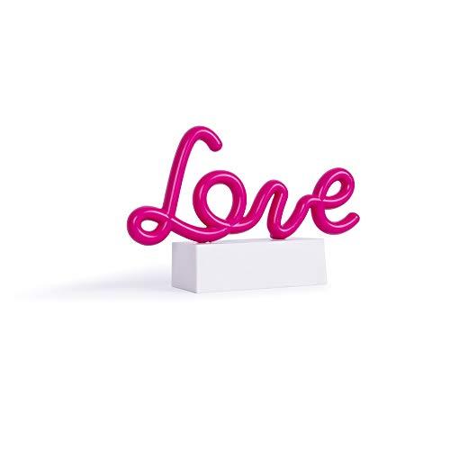 Helio Ferretti. Mini Neón LOVE. Letras Luminosas para decoración de casa y dormitorios juveniles. Luz LED color rojo. Pilas AA (no incluidas).