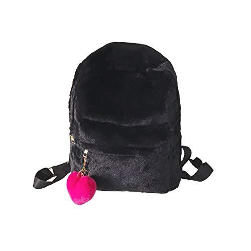 Süßes Mädchen Liebe Plüsch Rucksack niedlichen Anhänger Rucksack (schwarz)
