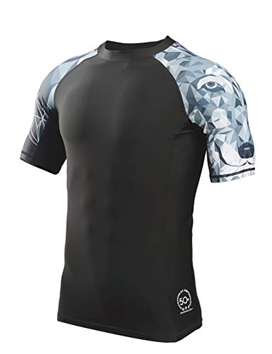 HUGE SPORTS Men's Splice UV Sun Protection UPF 50+ Skins Rash Guard Short Sleeves(Wolf,M)