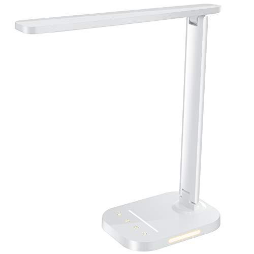 LITOM Schreibtischlampe LED Dimmbar, Tischleuchte 5 Farb & 10 Helligkeitsstufen, USB-Anschluss für Smartphone,Tischlampe Bürolampe ,Timer, Nachtlicht, Augenschutz für Kinder Lesen, Weiss