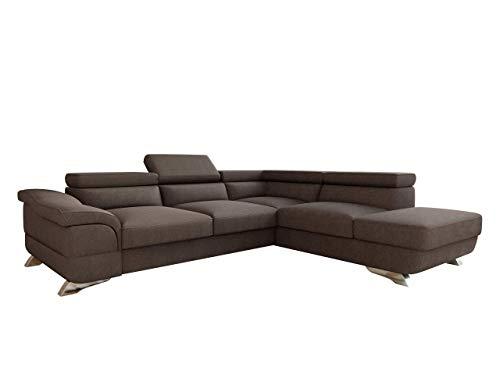 Mirjan24 Polsterecke Lagos! Ecksofa Eckcouch mit Bettkasten und Schlaffunktion! einstellbare Kopfstützen! Schlafsofa L-Form Couch Couchgarnitur! Wohnlandschaft (Ecksofa Rechts - 2R-OT, Inari 28)