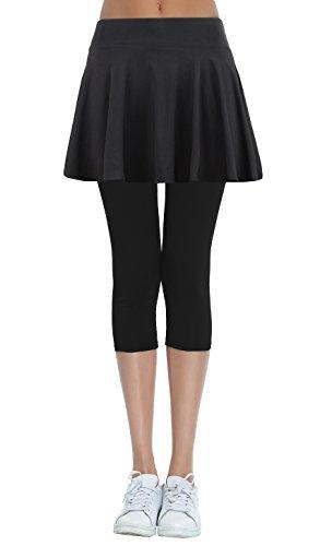 Cityoung Women's Yoga Capris Tennis Skirt with Leggings XL Black