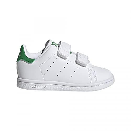 adidas Unisex Baby Stan Smith CF Sneaker, Cloud White/Cloud White/Green, 25.5 EU