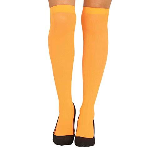 Guirca Strümpfe orange Overknee bunt für Damen Karneval Fasching Party Motto
