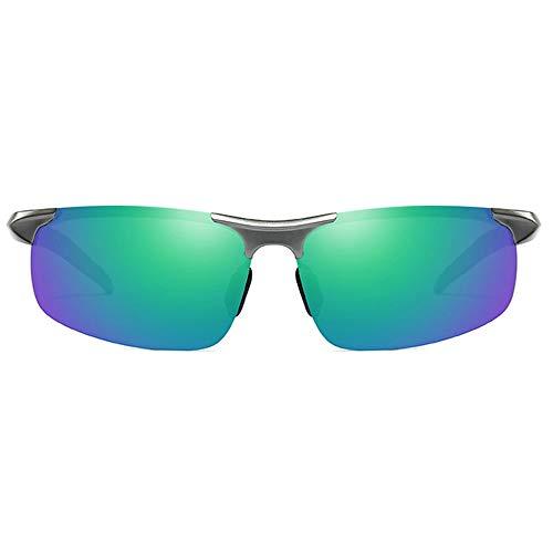 Gafas de sol DKEE Gafas De Sol UV400 Polarizadas De Aluminio Y Magnesio for Deportes, De Día Y De Noche, Con Doble Uso, Montura Gris, Lentes De Color Azul Y Verde, Gafas De Sol De Conducción for Hombr