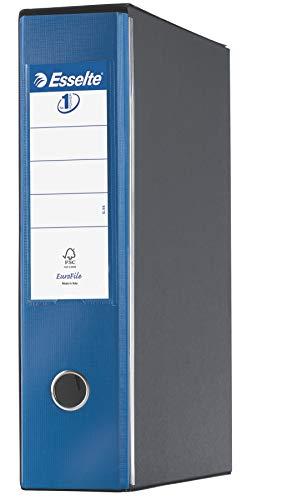 Esselte–Archivador Eurofile con mecanismo de palanca y con funda, tamaño folio, cartón revestido de plástico, color Blu Metallizzato Dorso 8 cm